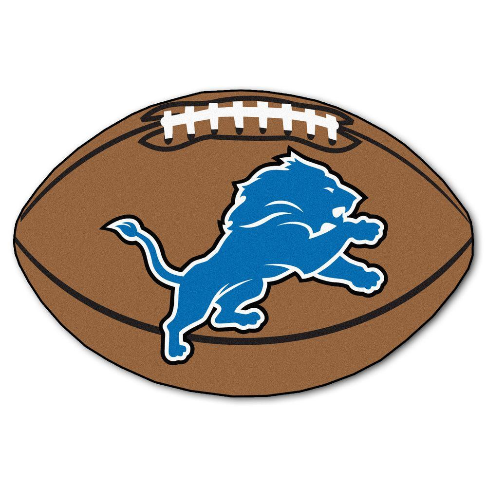 1000x1000 FANMATS NFL Detroit Lions Brown 2 ft. x 3 ft. Specialty Area Rug