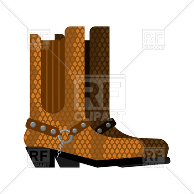 400x400 Cowboy Boots Made Python Leather Royalty Free Vector Clip Art