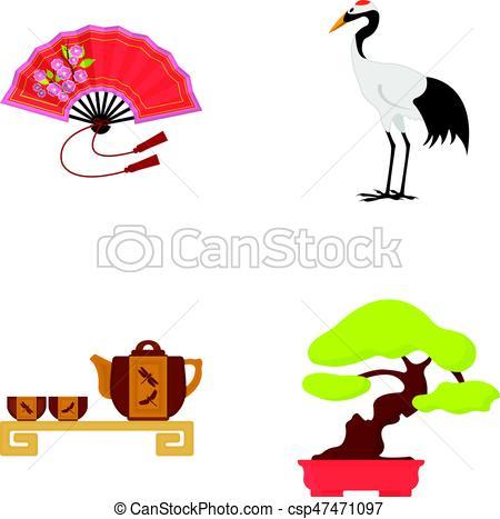 450x467 Fan, Red Crown Crane, Tea Ceremony, Bonsai.japan Set Eps