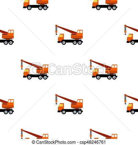 450x470 Orange Truck Crane Pattern Flat. Orange Truck Crane Pattern