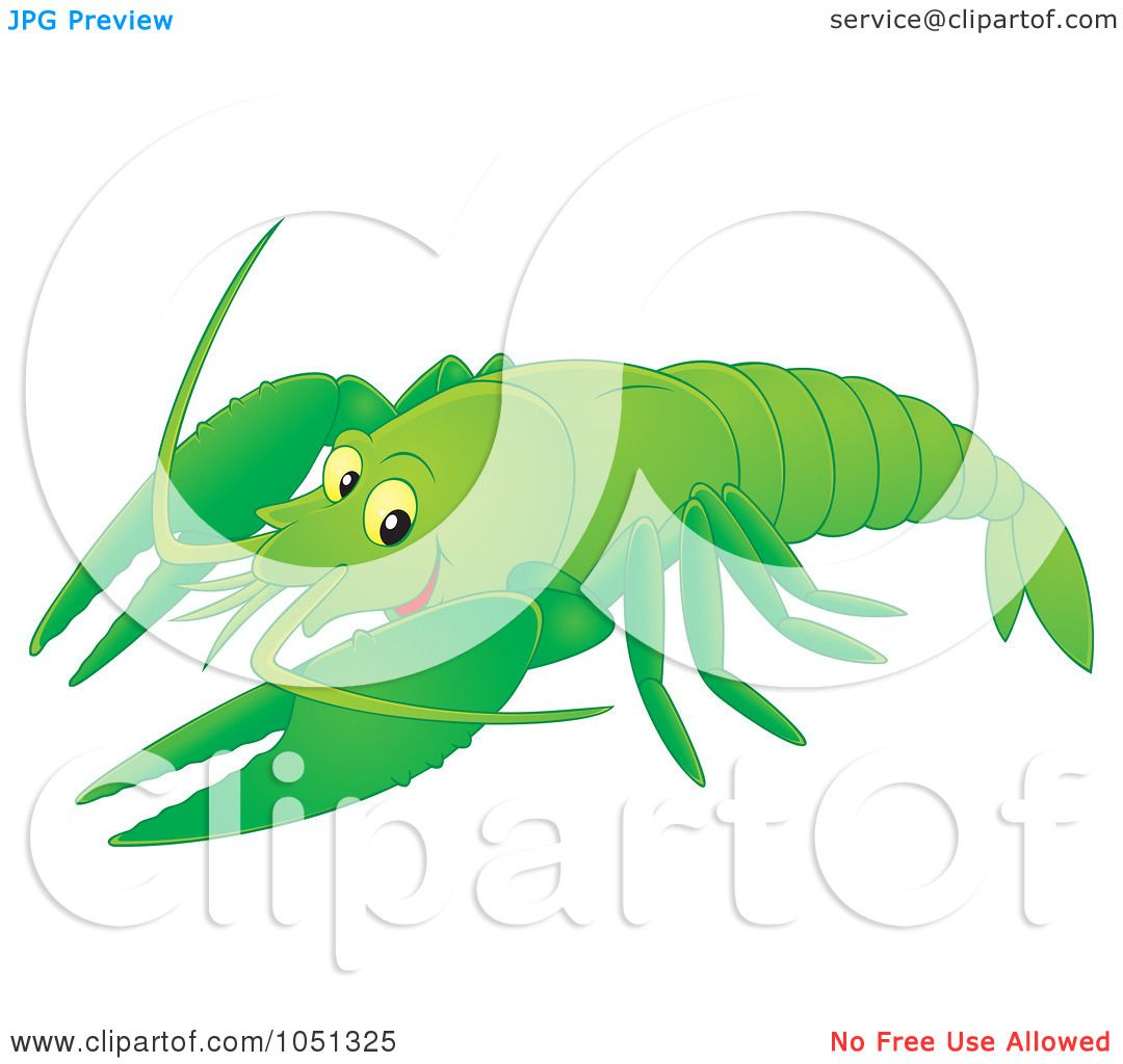 1080x1024 Royalty Free Vector Clip Art Illustration Of A Green Crayfish By