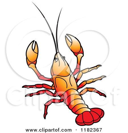 450x470 Clipart Of An Orange Crayfish