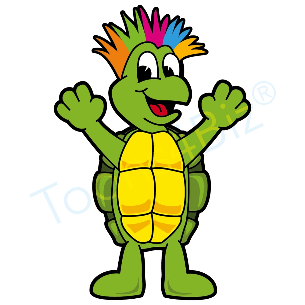 1000x1000 Turtle Mascot With Crazy Hair Clip Art