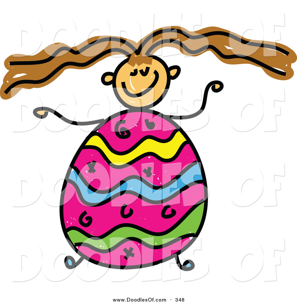 1024x1044 Vector Clipart Of A Childs Sketch Of A Girl With An Easter Egg