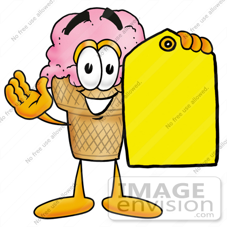 450x450 Clip Art Graphic Of A Strawberry Ice Cream Cone Cartoon Character