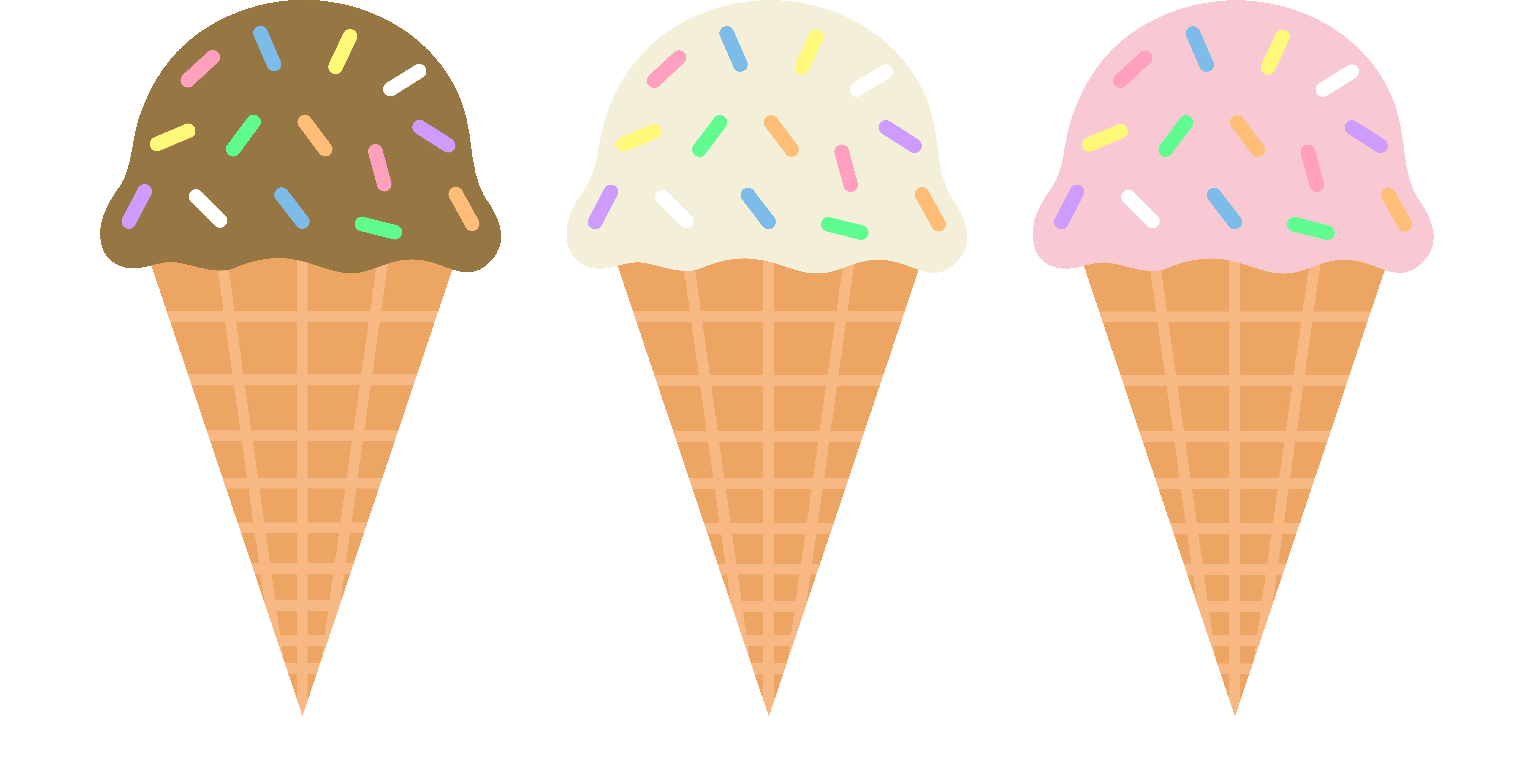 6701x3426 Clip Art Of Neapolitan Ice Cream Cone With Sprinkles And A Cherry