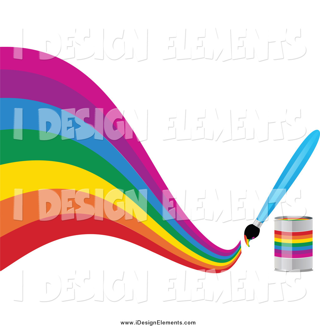 1024x1044 Clip Art Of A Paintbrush Making A Creative Curvy Rainbow On White