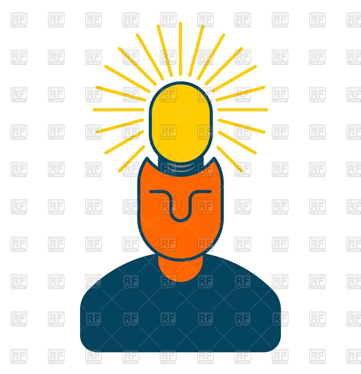 1161x1200 Creative Idea. Smart Man With Light Bulb In Head. Royalty Free