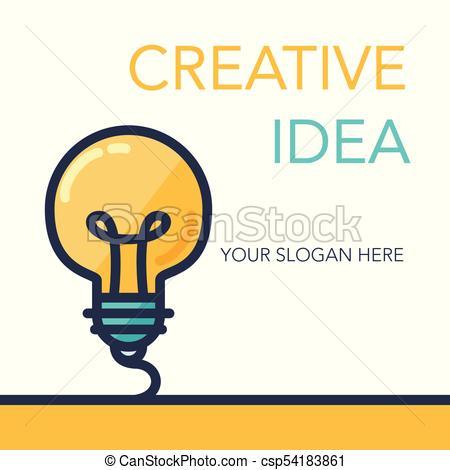 450x470 Simple Creative Success Idea Banner. Innovation Symbol . Clip