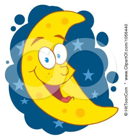 415x450 Royalty Free Vector Clip Art Illustration Of A Happy Crescent Moon