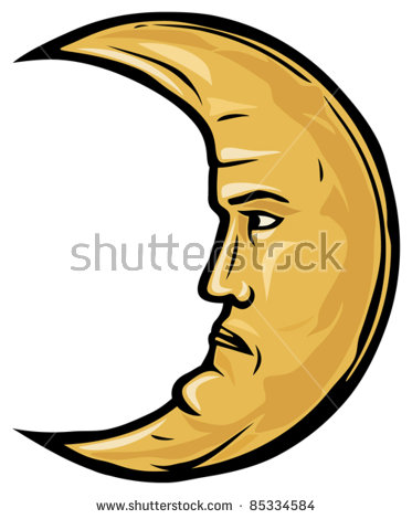 373x470 Crescent Moon Face Outline Clipart