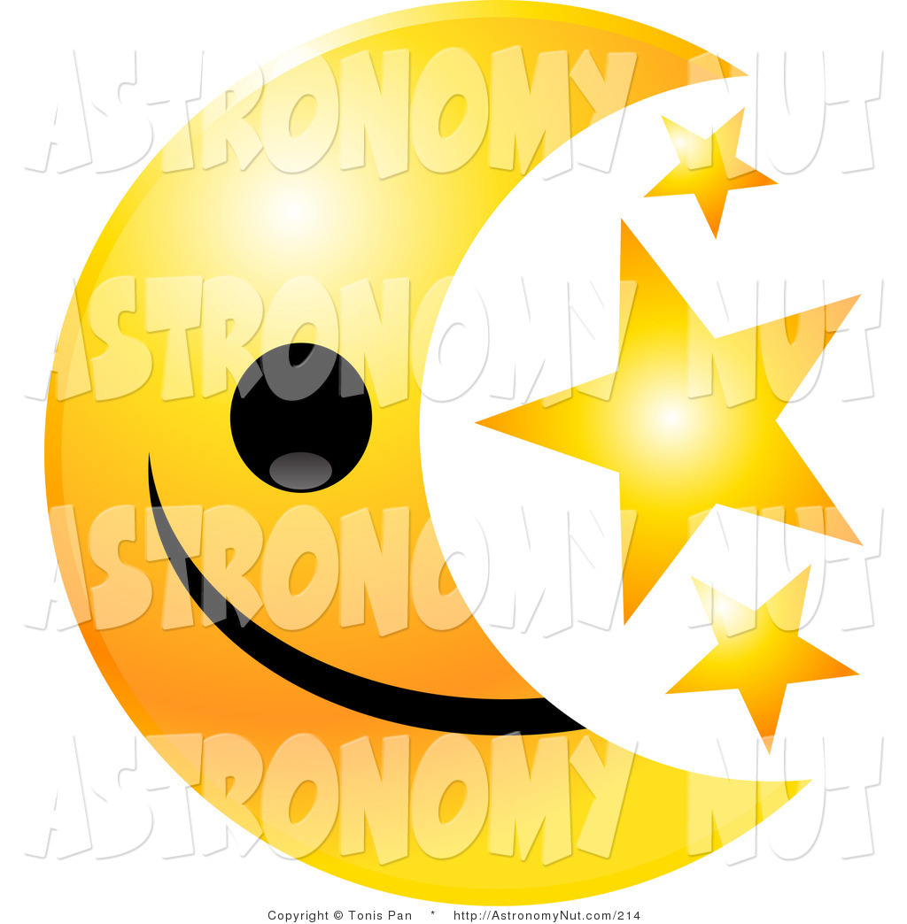 1024x1044 Clipart Of A Crescent Yellow Moon Emoticon Face With Three Golden