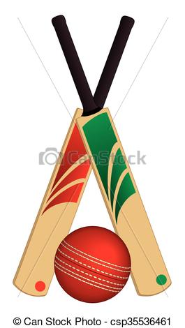 265x470 Cricket Ball And 2 Bats Crossed. 2 Cricket Bats Crossed