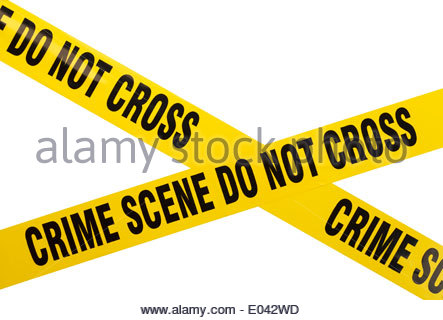 443x320 Yellow Police Crime Scene Tape And Handgun With Spent Bullet, Uk