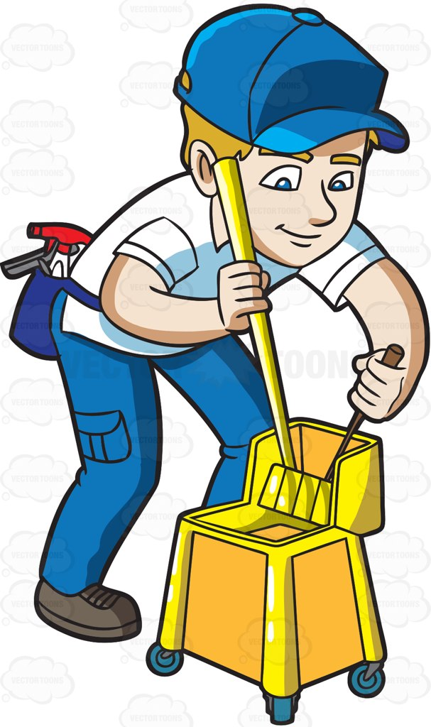 607x1024 A Man Squeezing A Mop At A Crime Scene Bedroom Cartoon Clipart