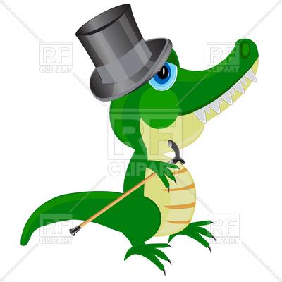 400x400 Cartoon Crocodile In Top Hat Royalty Free Vector Clip Art Image