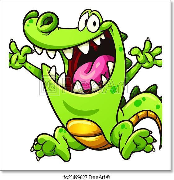 561x581 Free Art Print Of Cartoon Crocodile. Happy Cartoon Crocodile