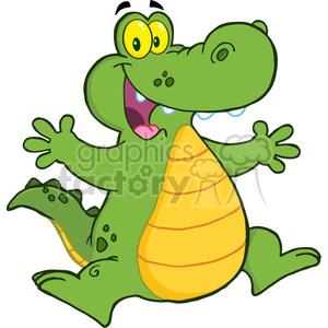 300x300 Royalty Free 102535 Cartoon Clipart Happy Aligator Or Crocodile