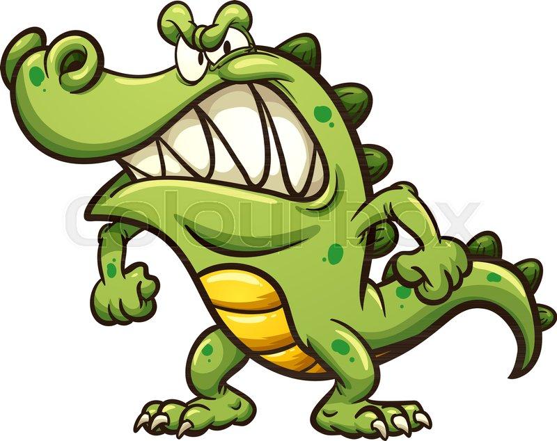 800x634 Angry Cartoon Crocodile. Vector Clip Art Illustration With Simple