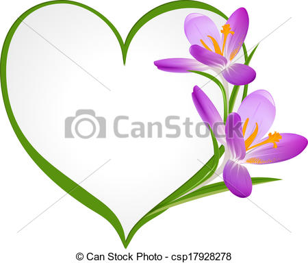 450x384 Purple Crocus With A Frame In The Shape Of Heart. Vectors
