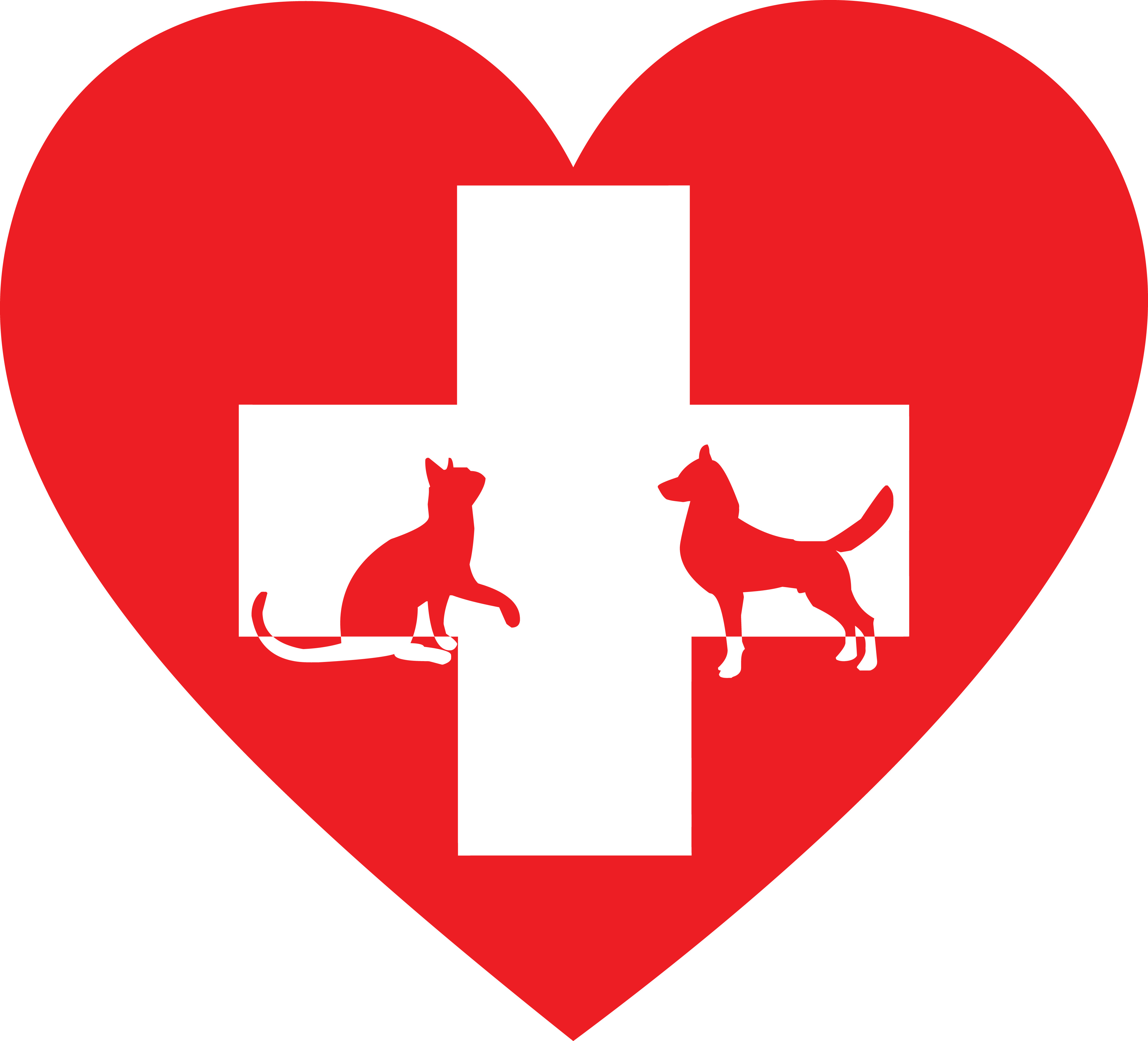 4000x3628 Free Clipart Of A Silhouetted Cat And Dog With A Red Pet Clinic