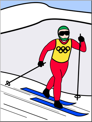 304x404 Clip Art Winter Olympics Cross Country Color I