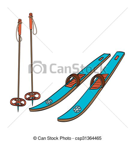 450x470 Clipart Ski Vector Illustration Of A Cross Country Old Fashioned