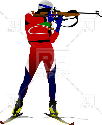 326x400 Biathlon Runner Shoots Royalty Free Vector Clip Art Image