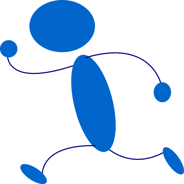 600x600 Running Blue Stick Man. Clipart Panda