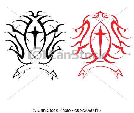 450x380 Tattoo Christian Cross Vector Art Vector Clip Art
