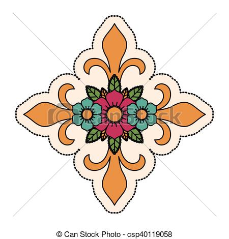 450x470 Isolated Cross Shape Design. Cross Shape With Flowers Clipart