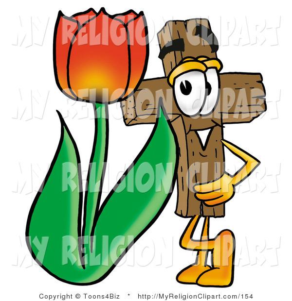 600x620 Religion Clip Art Of A Wooden Christian Cross Mascot Cartoon