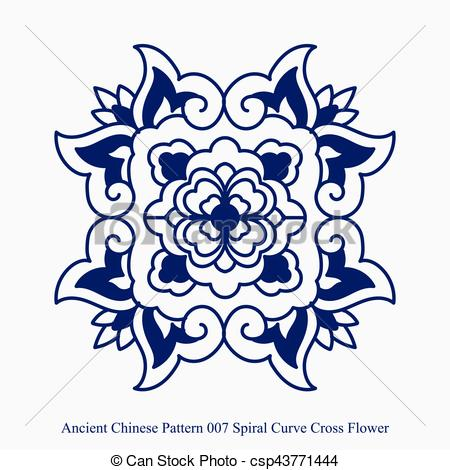 450x470 Ancient Chinese Pattern Of Spiral Curve Cross Flower Eps Vector