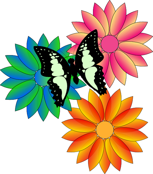 528x600 Animated Flowers And Butterflies Butterfly And Flowers Clip Art