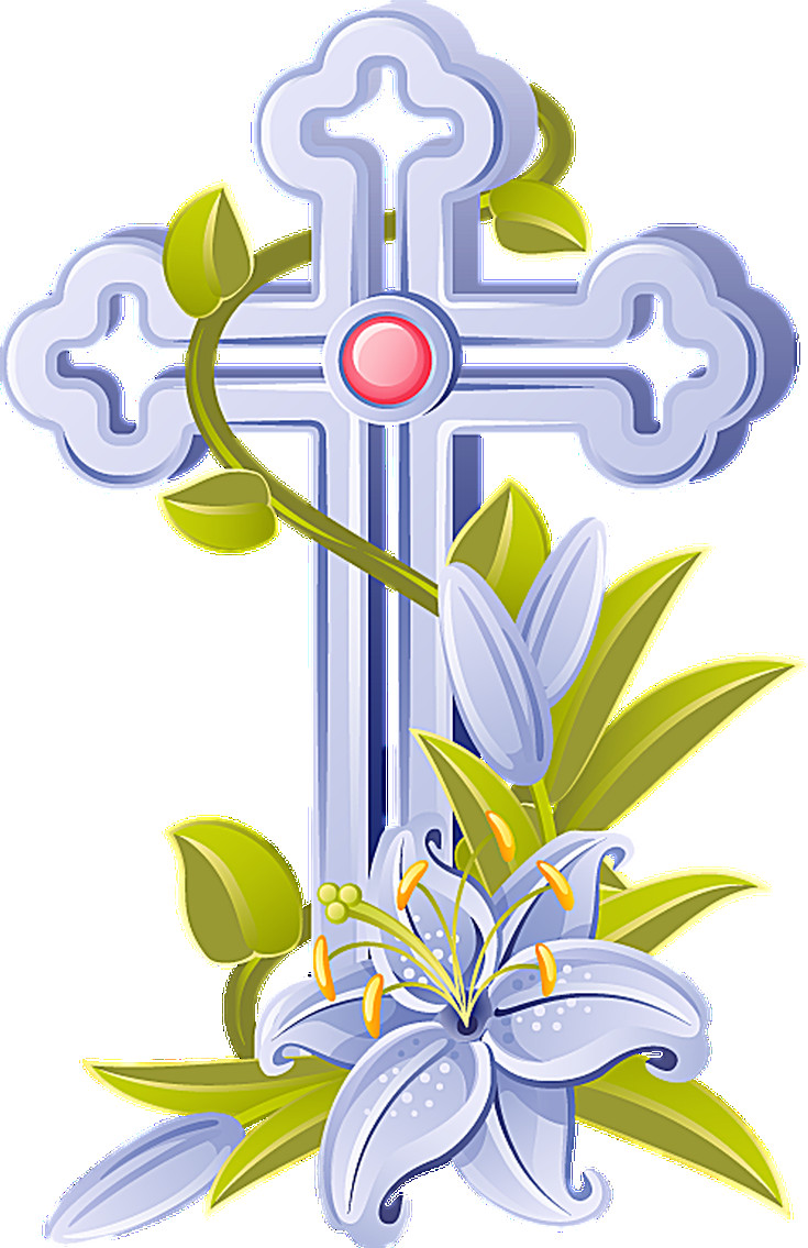 735x1135 Cross With Lilies Clipart Transitionsfv
