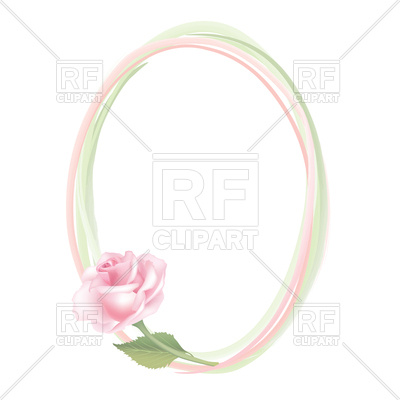 400x400 Pink Oval Border With Rose
