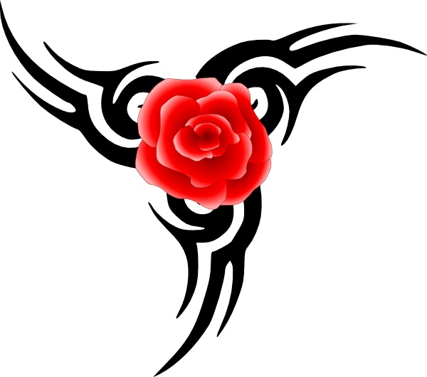 600x530 Tribal Tattoo With Rose Clip Art Free Vector 4vector