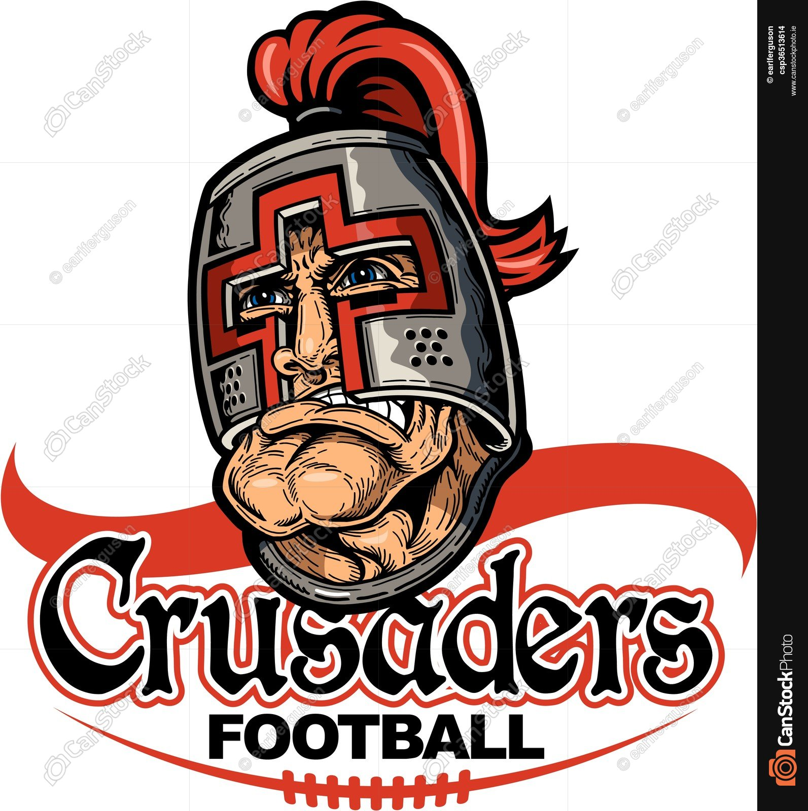1593x1600 Crusaders Football Team Design With Mascot And Laces For Vector