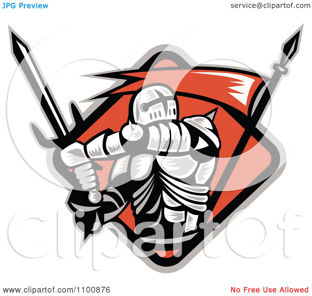 1080x1024 Clipart Retro Crusader Knight With Swordnd Red Flag In