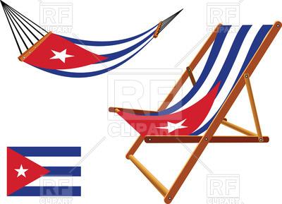 400x289 Cuba Flag Hammock And Deck Chair Royalty Free Vector Clip Art