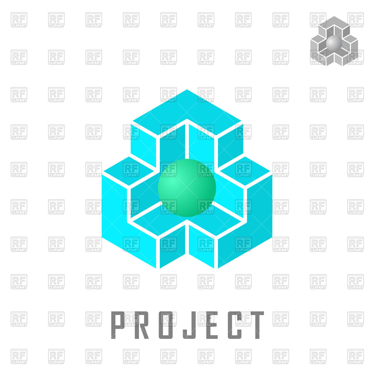 1200x1200 Isometric Cube Construction With Ball Inside Royalty Free Vector