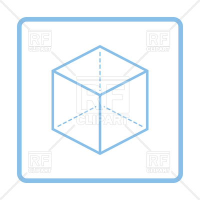 400x400 Blue Frame Design Of Cube With Projection Icon Royalty Free Vector