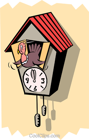 306x480 Cuckoo Clock With Turkey Royalty Free Vector Clip Art Illustration