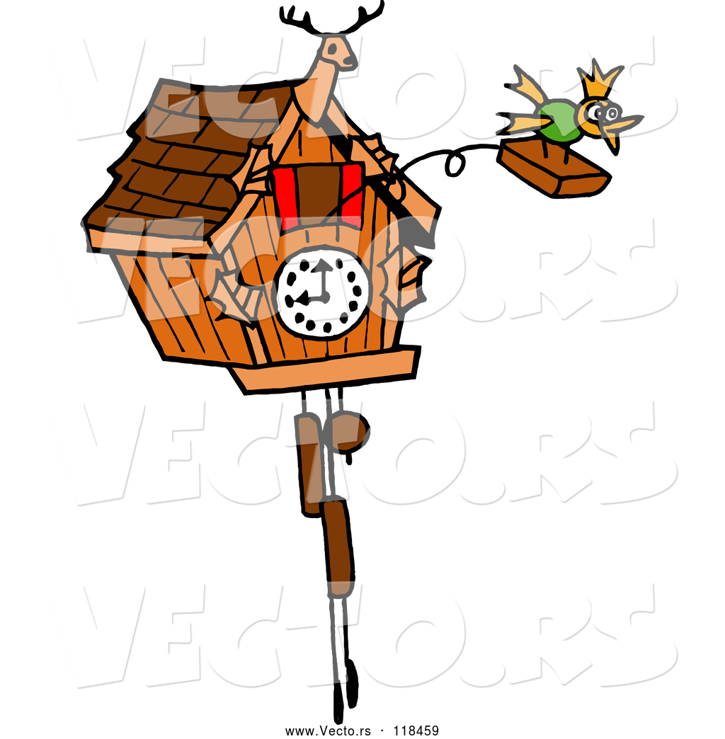 1024x1044 Vector Of Cartoon Bird Emerging From A Cuckoo Clock By Lafftoon