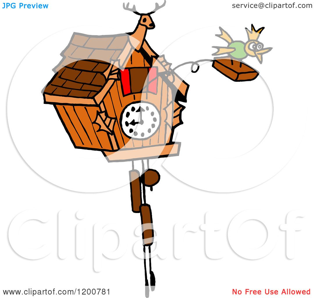 1080x1024 Cartoon Of A Bird Emerging From A Cuckoo Clock