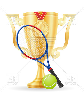 344x400 Tennis Gold Winner Cup Royalty Free Vector Clip Art Image