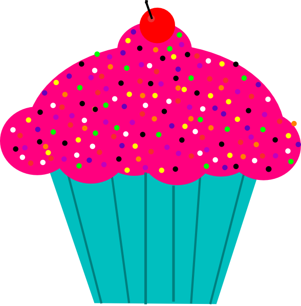 588x597 Pink Frosted Cupcake Clip Art