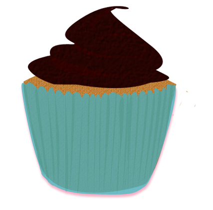 427x422 Turquoise Brown Cupcake Clip Art By Wisp Stock