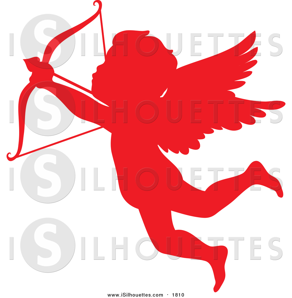 1024x1044 Clipart Of A Red Cupid Silhouette Flying And Shooting An Arrow By