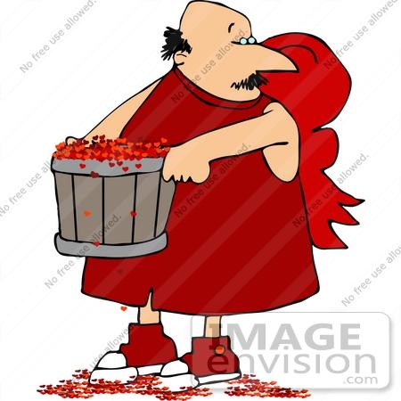 450x450 Bald Cupid Man Carring A Bushel Of Hearts Clipart
